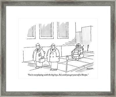 Two Businessmen Talk As A Sherpa Carrying Many Framed Print