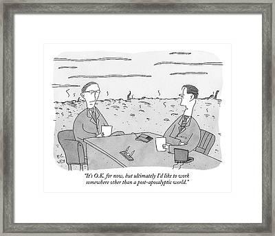 Two Businessmen Talk At A Desk Scorched Earth Framed Print