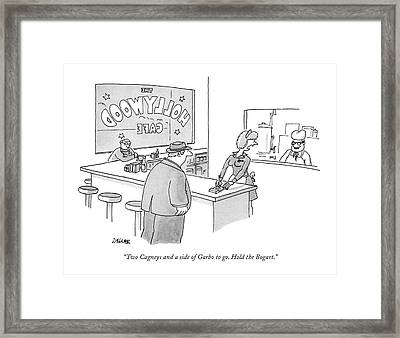 Two Cagneys And A Side Of Garbo To Go. Hold Framed Print by Jack Ziegler