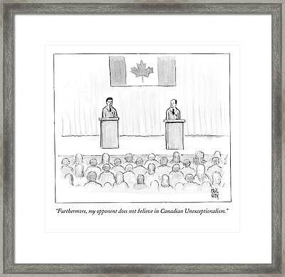 Two Candidates For Prime Minister Of Canada Framed Print