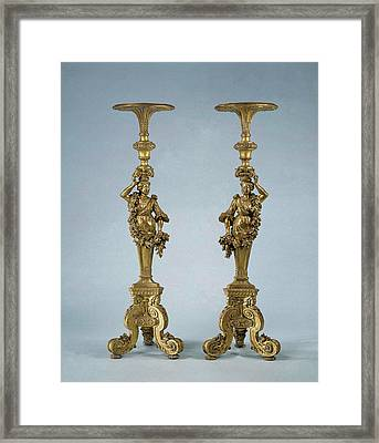 Two Candle Stands Torchères, Anonymous Framed Print