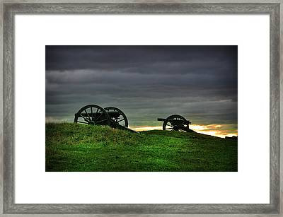 Two Cannons At Gettysburg Framed Print by Bill Cannon
