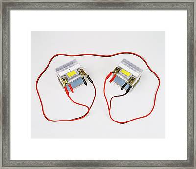 Two Car Batteries Attached By Jump Leads Framed Print by Dorling Kindersley/uig