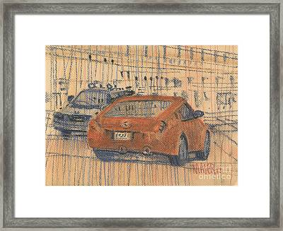 Two Cars Flirting Framed Print by Donald Maier
