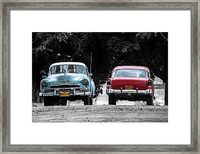 Two Cars Passing Framed Print