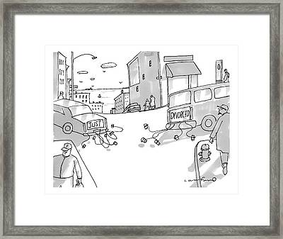 Two Cars Pull Away From Each Other With Cans Tied Framed Print