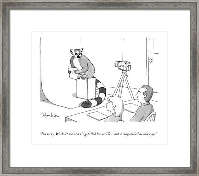 Two Casting Directors Speak To An Auditioning Framed Print by Charlie Hankin