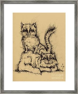 Two Cats Framed Print by Angel  Tarantella