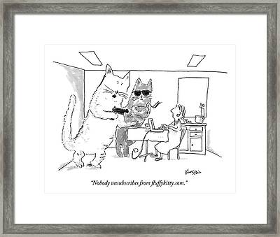 Two Cats Threaten An Old Lady Framed Print