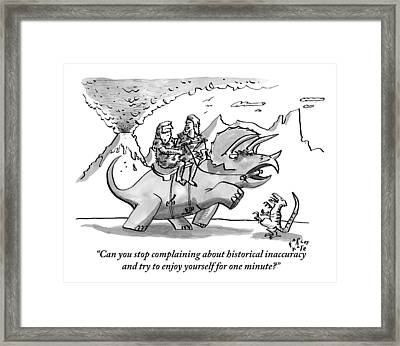 Two Cave People Ride A Dinosaur Like A Horse Framed Print