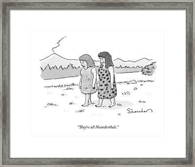 Two Cavewomen Walk And Talk Framed Print