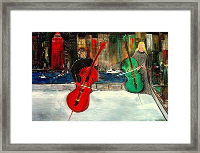 Two  Cello Players  Rooftop  Framed Print by Rick Todaro