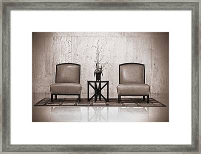 Two Chairs And A Table With A Plant  Framed Print by Rudy Umans