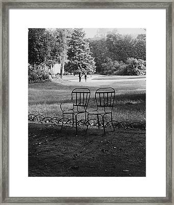 Two Chairs Near The Champs Elysees Framed Print