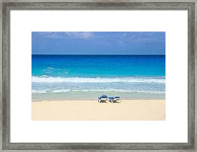 Two Chairs On Cancun Beach Framed Print
