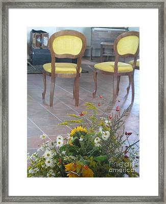 Two Chairs With Flowers Framed Print