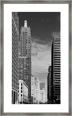 Two Chicago Classics- Carbide And Carbon And Wrigley Building Framed Print