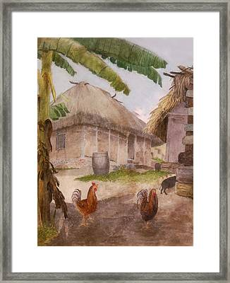Two Chickens Two Pigs And Huts Jamaica Framed Print