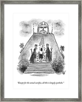 Two Chieftains Lead A Native Up The Stairs Framed Print