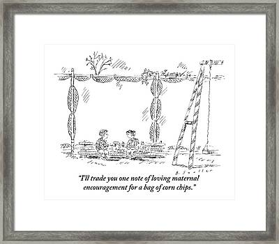 Two Children Are Seen Eating Lunch And Talking Framed Print