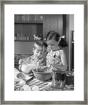 Two Children Baking, C.1960s Framed Print by H. Armstrong Roberts/ClassicStock