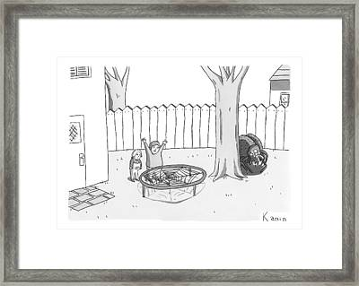 Two Children Excitedly Look At A Web Disguised Framed Print