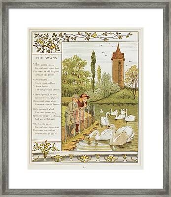 Two Children Looking At Swans On A Lake Framed Print by British Library
