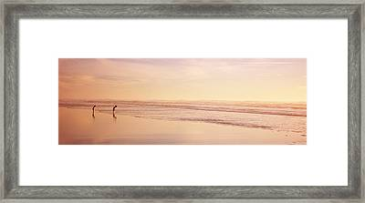 Two Children Playing On The Beach, San Framed Print