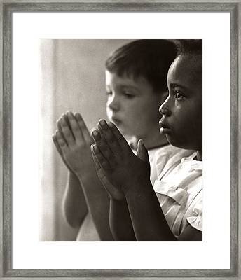 Two Children Praying In Sunday School Framed Print