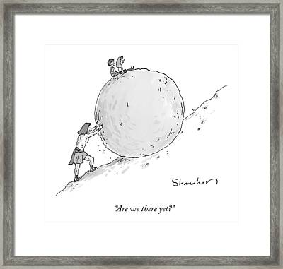 Two Children Sit At The Top Of Sisyphus's Boulder Framed Print by Danny Shanahan
