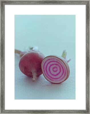 Two Chioggia Beets Framed Print by Romulo Yanes