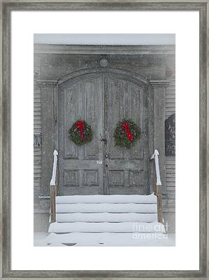 Two Christmas Wreaths Framed Print