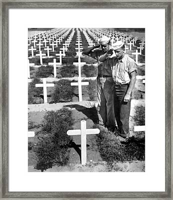 Two Coast Guardsmen Salute The Grave Framed Print