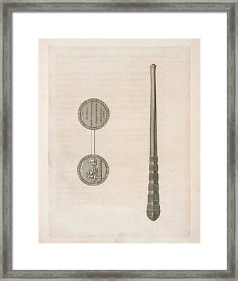 Two Coins And A Long Tapering Stick Framed Print by British Library