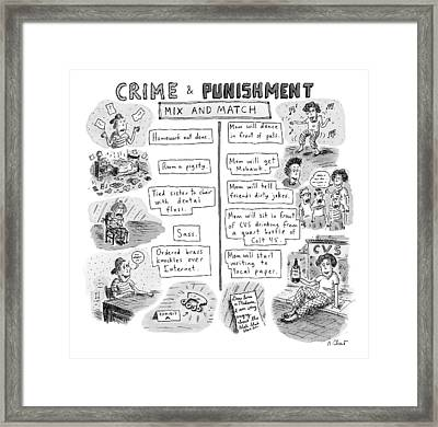 Two Columns Contain Entries. The Left Column Framed Print by Roz Chast