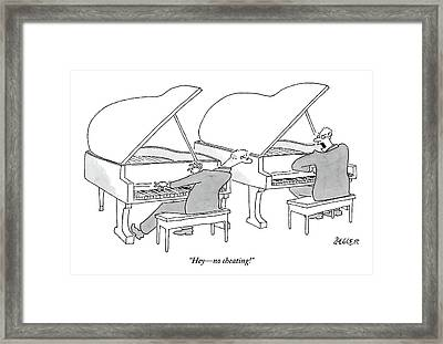 Two Concert Pianists Play Side-by-side Framed Print by Jack Ziegler
