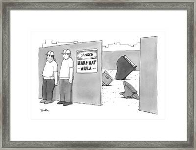 Two Construction Workers Stand Near A Hard Hat Framed Print