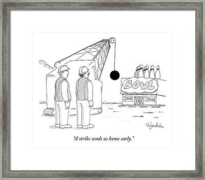 Two Construction Workers Watch As A Wrecking Ball Framed Print