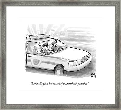 Two Cops Are Driving In A Cop Car Framed Print by Paul Noth
