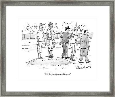 Two Cops, One In Plain Clothes, Arrest A Pitcher Framed Print