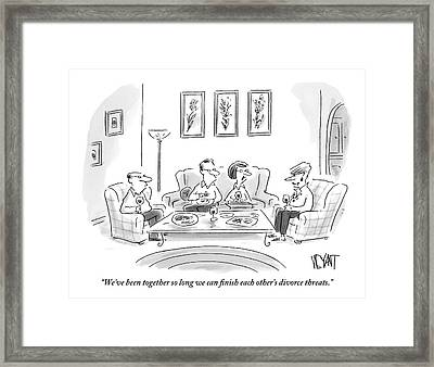 Two Couples Are Sitting Around A Coffee Table Framed Print by Christopher Weyant