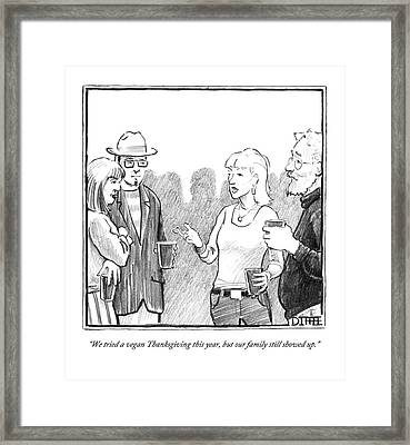 Two Couples Converse At A Party Framed Print by Matthew Diffee