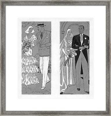 Two Couples Getting Married Framed Print by Pierre Mourgue