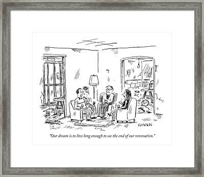 Two Couples Sitting In The Middle Of A House Framed Print by David Sipress