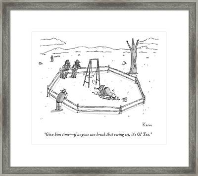 Two Cowboys Look On As A Man Is Thrown Clear Framed Print