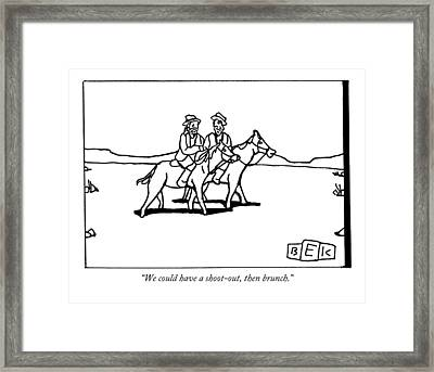 Two Cowboys On Horseback Talk To Each Other Framed Print by Bruce Eric Kaplan