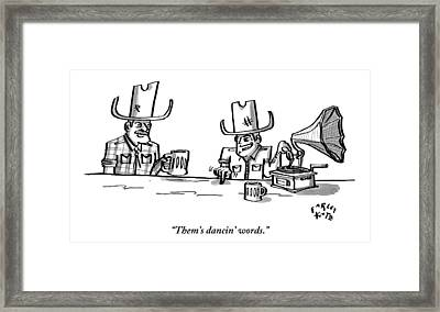Two Cowboys Sit Drinking Beer. A Phonograph Rests Framed Print by Farley Katz