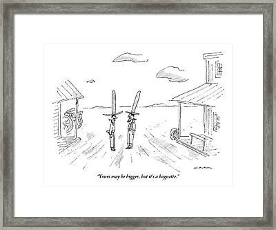 Two Cowboys With Tall Hats Are Speaking Framed Print