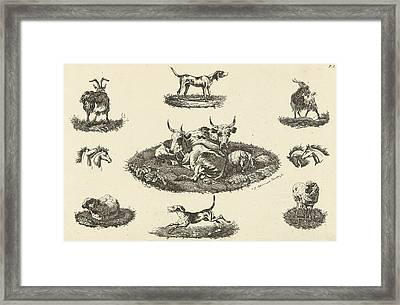 Two Cows, A Sheep And Other Animals, Christiaan Godfried Framed Print by Artokoloro