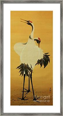 Two Cranes Dancing Framed Print by Pg Reproductions